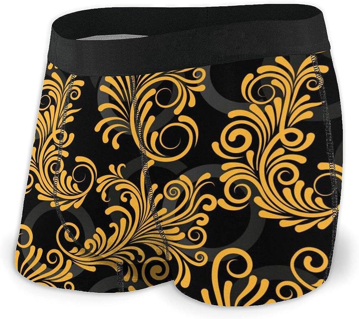 Mens Boxer Briefs Endless Abstract Golden Lines Boys Trunks Underwear Short Leg Breathable Man