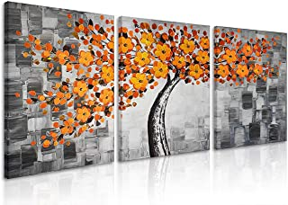 Natural art Flowers Trees Modern Prints Paintings Photo Printed Artwork on Canvas for Wall Decor (12x16inx3, Orange Tree)
