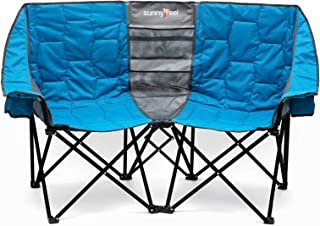 Sponsored Ad - SUNNYFEEL Double Folding Camping Chair, Oversized Loveseat Chair, Heavy Duty Portable/Foldable Chair with S...