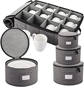 TOPZEA Set of 5 China Storage Containers, Dinnerware Storage Containers Hard Shell Stackable Moving Boxes Protectors for Dishes, Cups, Mugs and Plates, Felt Plate Dividers Included, Grey