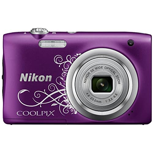 Nikon Coolpix A100 Point and Shoot Digital Camera (Purple Design) with Card and Camera Case