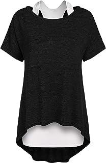 Parabler Dames oversized bovenstuk zomer 2-in-1 longshirt asymmetrische tuniek korte mouwen oversized T-shirt blouse jumper
