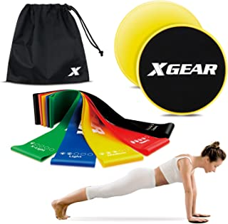 XGEAR Resistance Exercise Loop Bands and Core Sliders for Fitness Workout Physical Therapy Pilates Yoga Rehab Glute Leg Strength Pull Up Bands Equipment Gym Home Set of 7 with Carry Bag