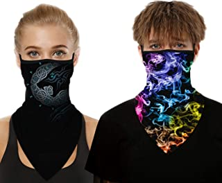 2PCS Face Cover Earloop Neck Gaiter, Multi-Functional Protective for Men Women, Outdoor Breathable Rave Riding Hiking Moto...