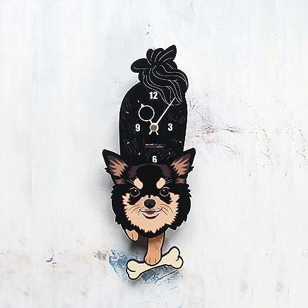 D-49 チワワ白黒(長毛)-犬の振り子時計