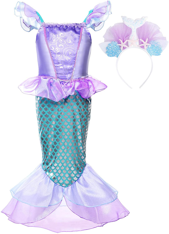 JerrisApparel Girls Princess Mermaid Costume Cosplay Party Dress