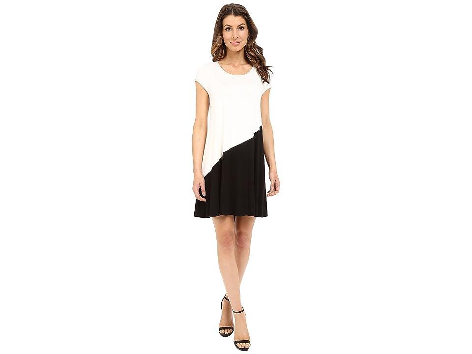 Karen Kane Color Block Maggie Trapeze Dress (Cream/Black) Women