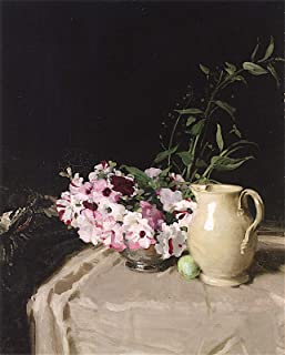 Sir William Nicholson The Bowl of Petunias (Also Known as Still Life: Petunias in a Silver Bowl, wth a China Jug on a Table) 1914 South 30