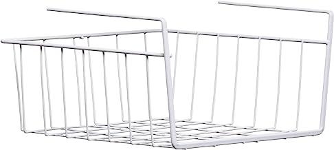 Premier Housewares White Under Shelf Storage Basket for Cupboard Cupboard Shelf Organiser Pantry Storage Baskets Store Org...