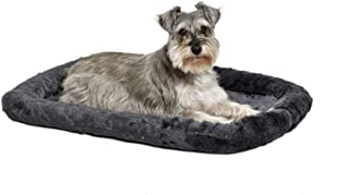 Fluffy's Luxurious Dog Bed | Bolster Dog Bed Fits Metal Dog Crates | Machine Wash & Dry (Large, Black)