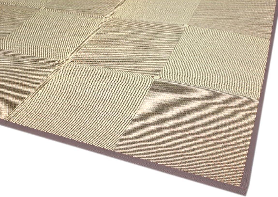 ぐるぐる鮫お風呂を持っているい草裏貼カーペット シンプルな市松模様で落ち着いたブラウン色 「市松」 本間6畳(286x382cm) 【裏貼、本間タイプ】