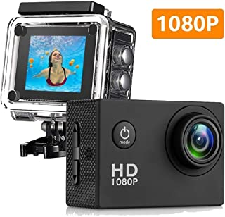Matego Underwater Photography 1080P Sport DV Camera Waterproof 30m Action Cam 170Degree Ultra Wide Angle Outdoor Sport Camcorder For Water Sport Motorcycle Diving Camera Support Time Lapse HDMI Output