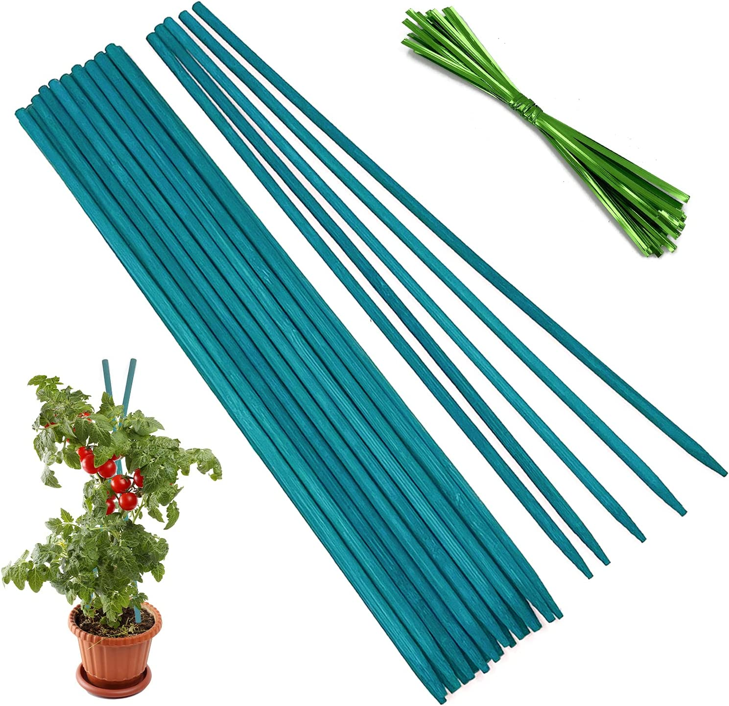 Garden Wood Stakes,HAINANSTRY Green Bamboo Plant Support Stakes,Flower/Orchid/Tomato Wooden Stakes for Gardening,Plant Stakes and Supports for Potted Plants - 25Pcs 18 Inches