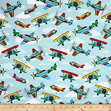 Santee Print Works Kid's Choice Airplanes Allover Blue Multi Fabric by the Yard