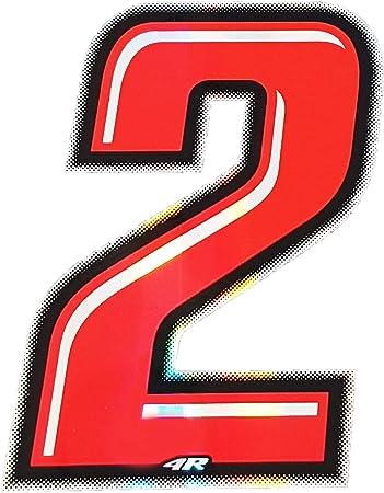 4r Quattroerre It 13262 Startnummer 2 Aufkleber Für Motorräder Rot 10 X 6 5 Cm Auto