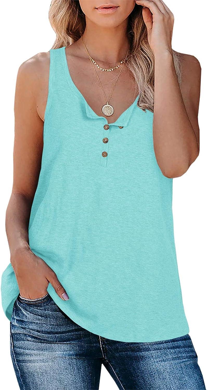 Caitefaso Women Loose Button Down Tank Tops Long Ribbed Summer Sleeveless Henley Shirts Tunic Tees