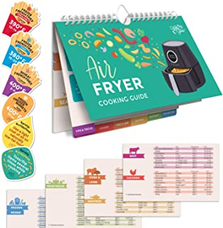 WILLA FLARE Air Fryer Cheat Sheet Cooking Times Reference Guide for 80 Foods - Magnetic Flip Chart and 6 Vinyl Decal Stick...