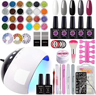 COSCELIA 5 Colors Gel Nail Polish Kit with 24W LED Nail Dryer lamp Base Top Coat Manicure Tools Nail Art Glitter Decoration 10ml 0.33fl. oz Each Bottle