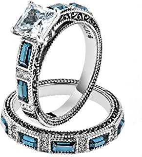 Women's Stainless Steel 316 Cubic Zirconia Antique Design Wedding Ring Set