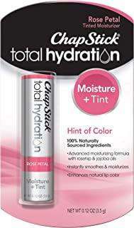 ChapStick Total Hydration (Rose Petal Tint, 1 Blister Pack of 1 Stick) Tinted Moisturizer, 100% Natural Lip Color and Lip Treatment, 0.12 Ounce