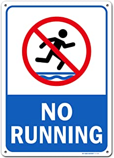 """No Running Pool Safety Sign, Made Out of .040 Rust-Free Aluminum, Indoor/Outdoor Use, UV Protected and Fade-Resistant, 10""""..."""