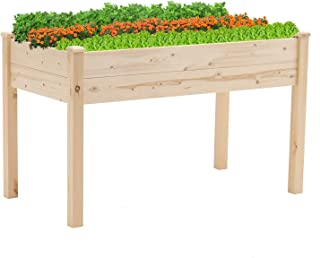 CrownLand 4 ft Outdoor Garden Raised Bed Elevated Wooden Planter for Patio Deck Balcony Outdoor Gardening Easy Assembly