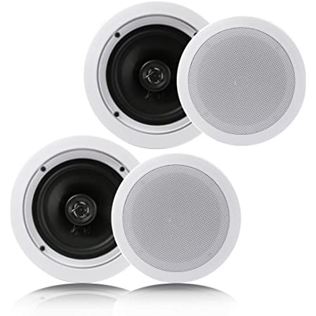 """Pyle Pair 6.5"""" Flush Mount In-wall In-ceiling 2-Way Home Speaker System Spring Loaded Quick Connections Dual Polypropylene Cone Polymer Tweeter Stereo Sound 200 Watts (PDIC1661RD) White"""