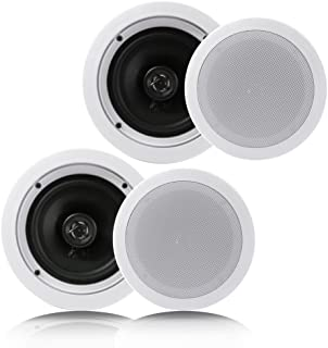 "Pyle Pair 6.5"" Flush Mount In-wall In-ceiling 2-Way Home Speaker System Spring Loaded Quick Connections Dual Polypropylene..."