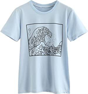 Women's Short Sleeve Top Casual The Great Wave Off Kanagawa Graphic Print Tee Shirt