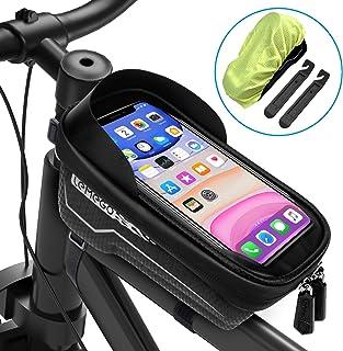 LEMEGO Bolsas de Bicicleta, Bolsa Impermeable para Bicicleta, Bolsa Táctil de Tubo Superior Delantero con Orificio para Auriculares para Teléfono Inteligente por Debajo de 6,5 Pulgadas