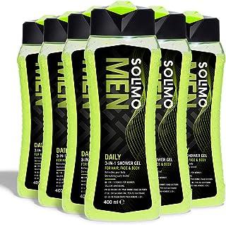 comprar comparacion Marca Amazon - Solimo Gel de ducha diario para hombre 3 en 1 (Cuerpo, cara y cabello)- Paquete de 6 (6 Botellas x 400 ml)