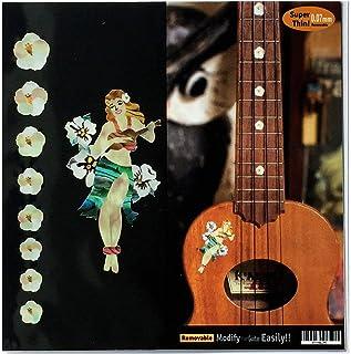 Calcomanía para ukelele, marcadores de diapasón y Hula Girl