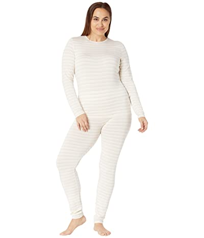 Kickee Pants Plus Size Long Sleeve Fitted Pajama Set (Everyday Heroes Sweet Stripe) Women