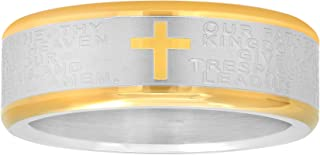 Silver and Gold Two-Tone Stainless Steel Ring Wedding Band w/Cross and Bible Lord's Prayer