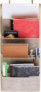 Elegant Wonders 4 Pocket Fabric Wall Organizer - Home Mail Organizer, Office Hanging File Organizer, Over The Door Storage by EW. [Beige]
