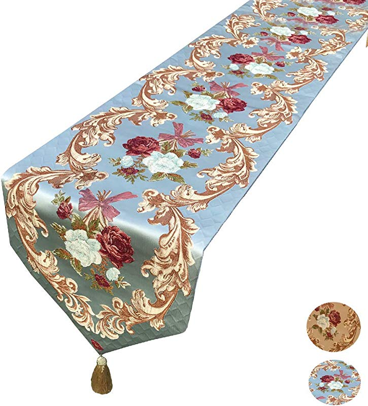 MAGILONA Home Tablecover Decorative Luxurious Cotton Linen Embroidered 3D Floral Pattern Table Runner With Tassel Dining Party 13x83 In Blue