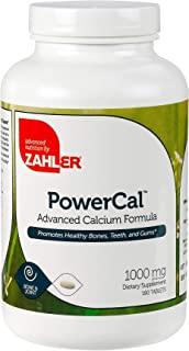 Zahler PowerCal, Calcium Supplement with Vitamin D, Promotes Healthy Bones Teeth and Gums, Certified Kosher, 180 Tablets