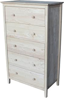 International Concepts Chest with 5 Drawers, Unfinished