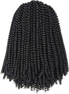 Toyotress Spring Twist Crochet Hair - 12 inch 4Pcs Spring Twists Crochet Braids Synthetic Braiding Hair Extension (12inch,1B)