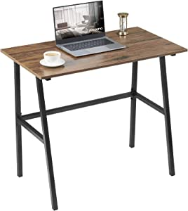Small Computer Desk 35'' Study Writing Desk for Small Spaces Modern Simple Metal Frame Walnut