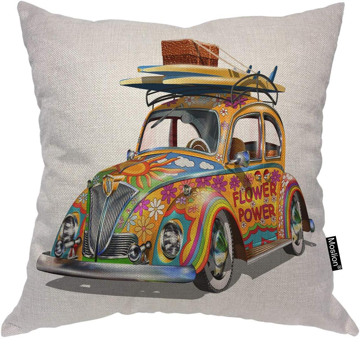 Moslion Car OFFer Decorative shop Pillow Covers Hippie V Vintage Inch 16x16