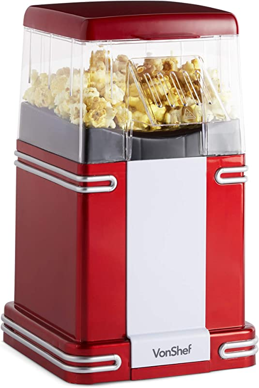 VonShef Retro Electric Popcorn Popper Healthy Hot Air Popcorn Machine With Measuring Cup And Boxes Red