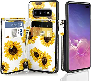 LAMEEKU Floral Zipper Wallet Case for Samsung Galaxy S10, Sunflower Pattern Design Card Case with Credit Card Slot Leather Protective Cover for Samsung Galaxy S10 6.1'' - Sunflower