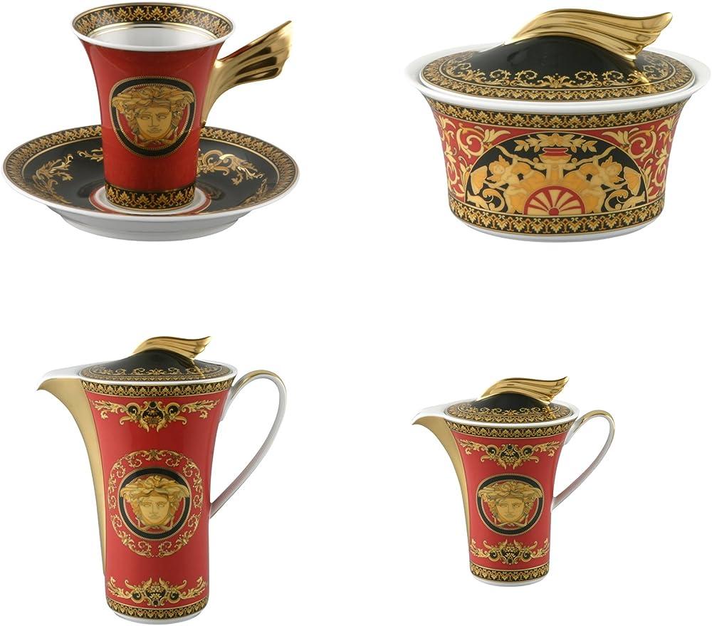 Versace, servizio caffe, 9 pezzi medusa rosso,in porcellana