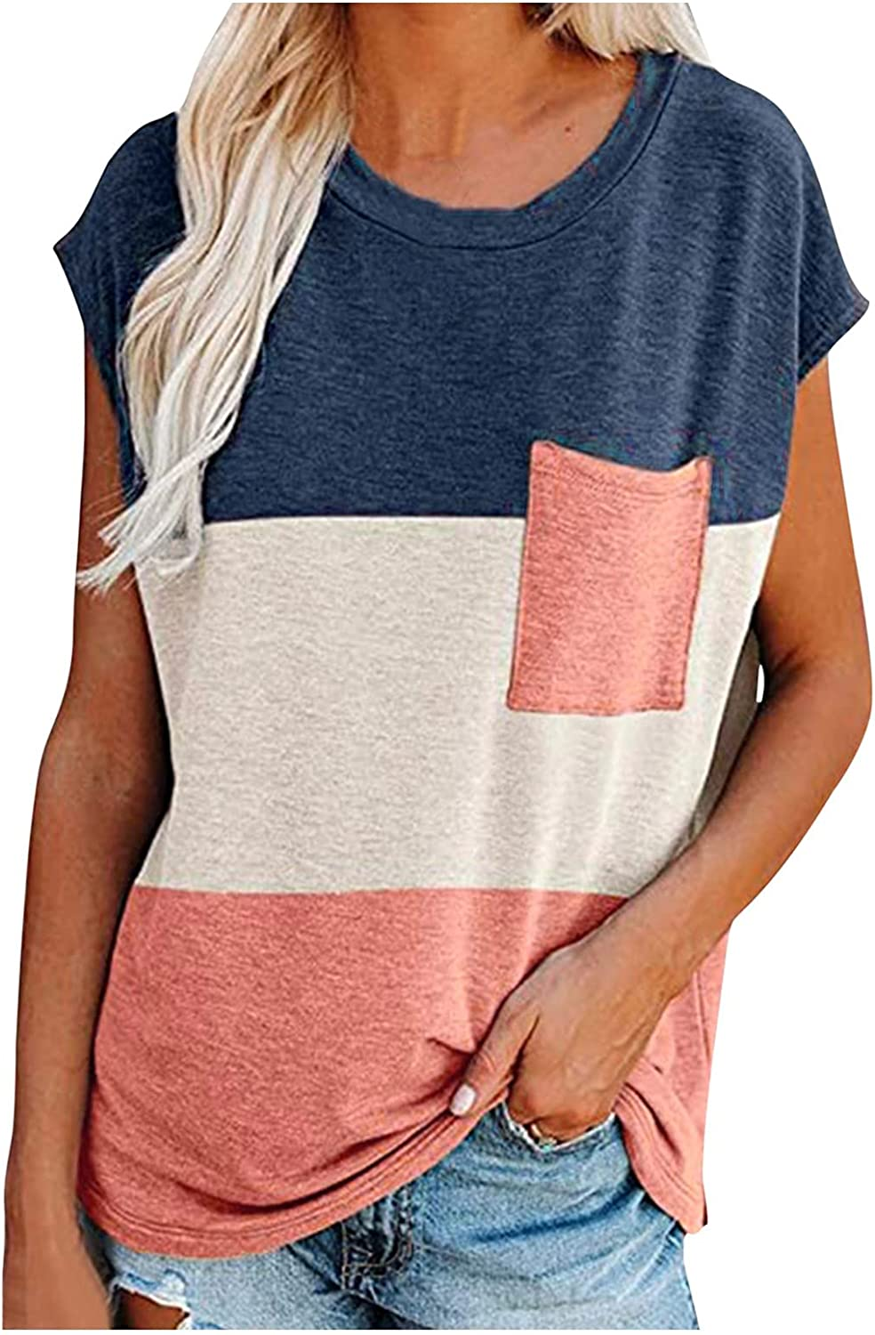 ManxiVoo Women's Round Neck Short Sleeve Color Blocking Patchwork T Shirts Blouse Top Tee with Pocket