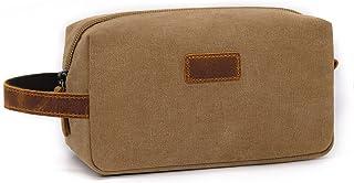 Biala Travel Toiletry Organizer Bag, Canvas Leather Dopp Kit Shaving Bag Cosmetic Organizer Bag Makeup Pouch, Portable Tra...