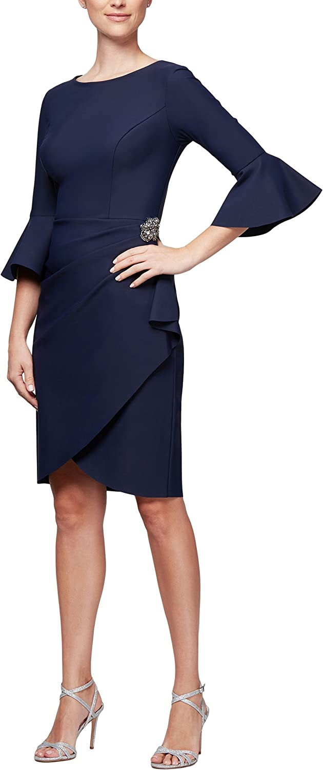 Alex Evenings Women's Slimming Short Sheath Dress with Bell Sleeves