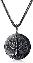 COAI Black Obsidian Stone Tree of Life Pendant Necklace
