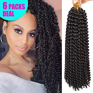 6 Packs Passion Twist Hair, The Best for Crochet Braids 18Inch Water Wave Synthetic Braids, Janet Passion Twist Crochet Hair, Bohemian Braiding Hair (1B)