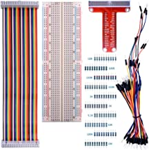 kuman for Raspberry Pi 4B 3B+ Kit, 830 MB-102 Tie Points Solderless Breadboard + GPIO T Type Expansion Board + 65pcs Jumper Cables Wires+ 40pin Rainbow Ribbon Cable+100pcs Resistance K73